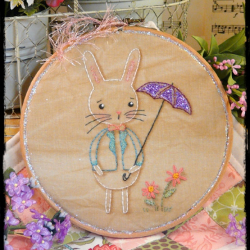 Showers and flowers bunny embroidery pattern