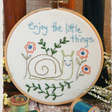 Enjoy the little things embroidery pattern snail garden inspire