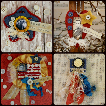 olde time PATRIOTIC Wool Pins Necklaces Pattern