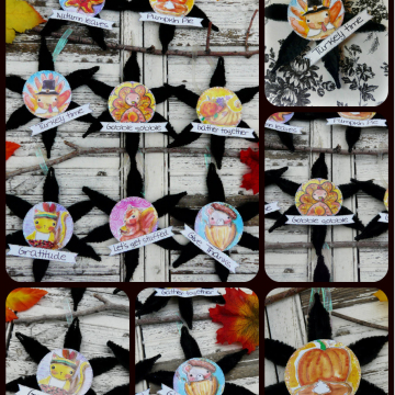 Thanksgiving ornaments and banner patten #342 collage sheet art