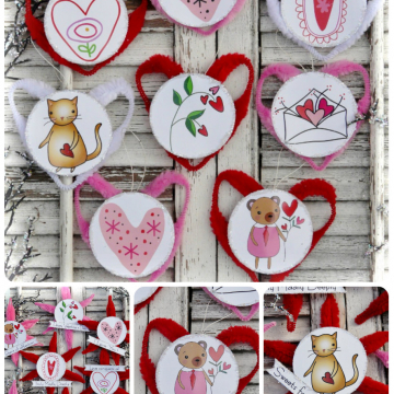 Valentine ornaments and banner pattern #350 paper chenille stem
