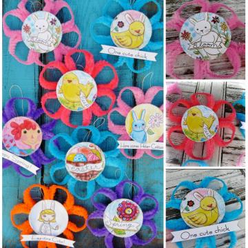 Easter ornaments and banner chenille stem pattern #355 flower art