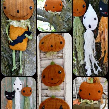 Vintage Halloween party - prim wool goodies pattern ghost cat