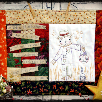 On this night of Halloween pattern scarecrow quilt