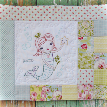 mermaid under the sea embroidery quilt