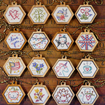 mini hexie embroidery pendant designs