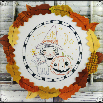 Wee bit wicked Witch Halloween embroidery pattern
