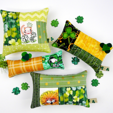 cat Irish- Embroidery & quilted pincushion pattern #406