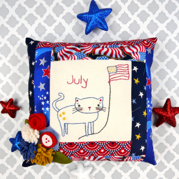 patriotic cat flag embroidery pattern with felt flowers