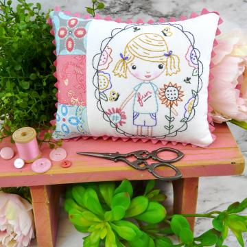 fun girl in the garden embroidery pattern