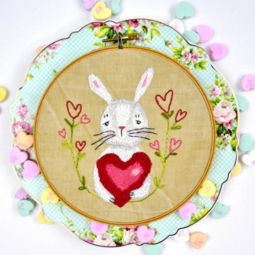 embroidery valentine rabbit pattern