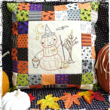 Halloween pumpkin man witch embroidery patchwork pillow pattern