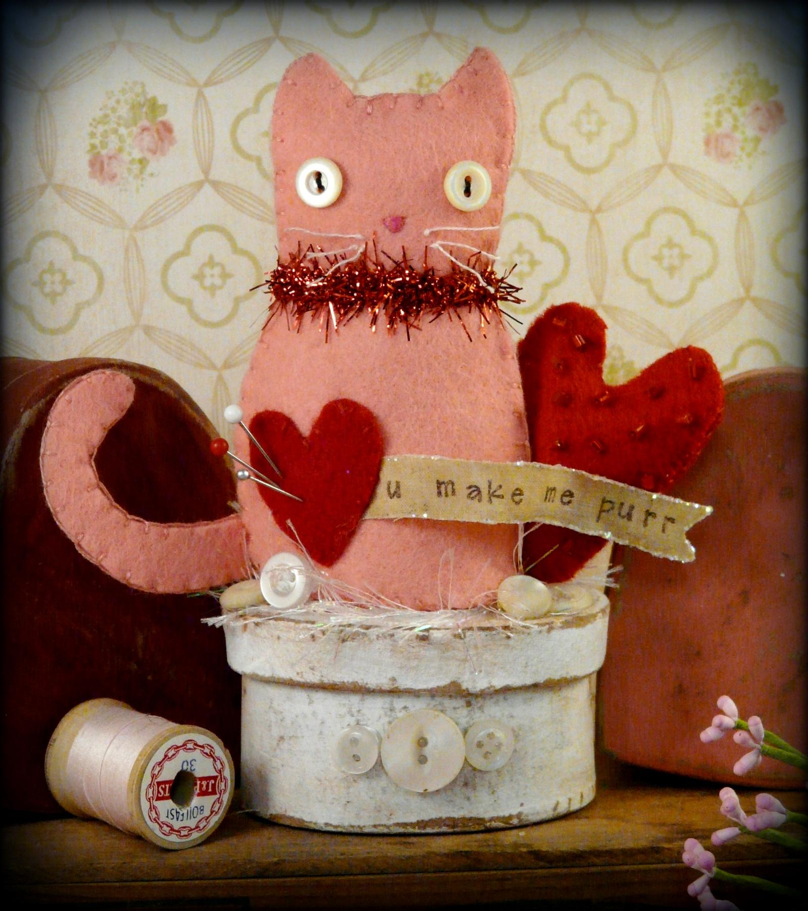 Valentine Kitty Cat Make Do Pattern Shirley Hudson Designs