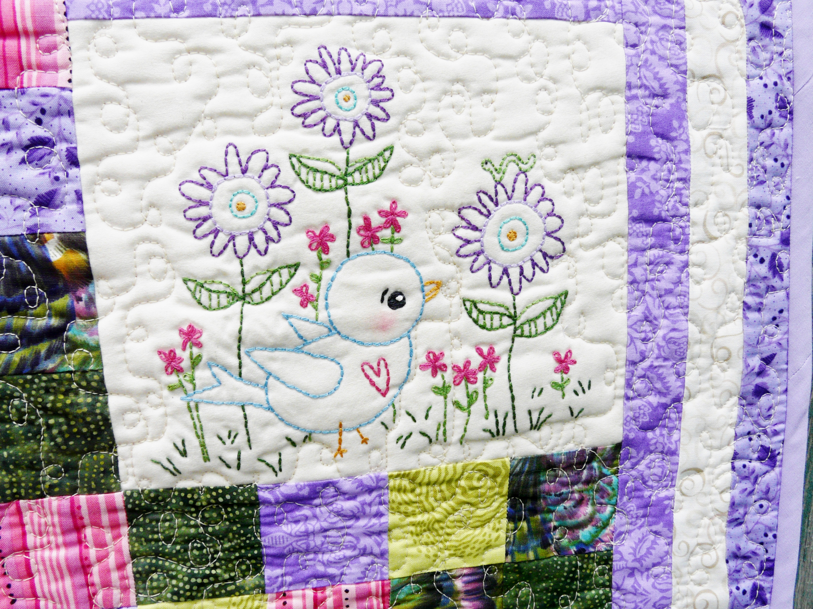 Blue Bird Of Happiness Embroidery Quilt Pattern Shirley