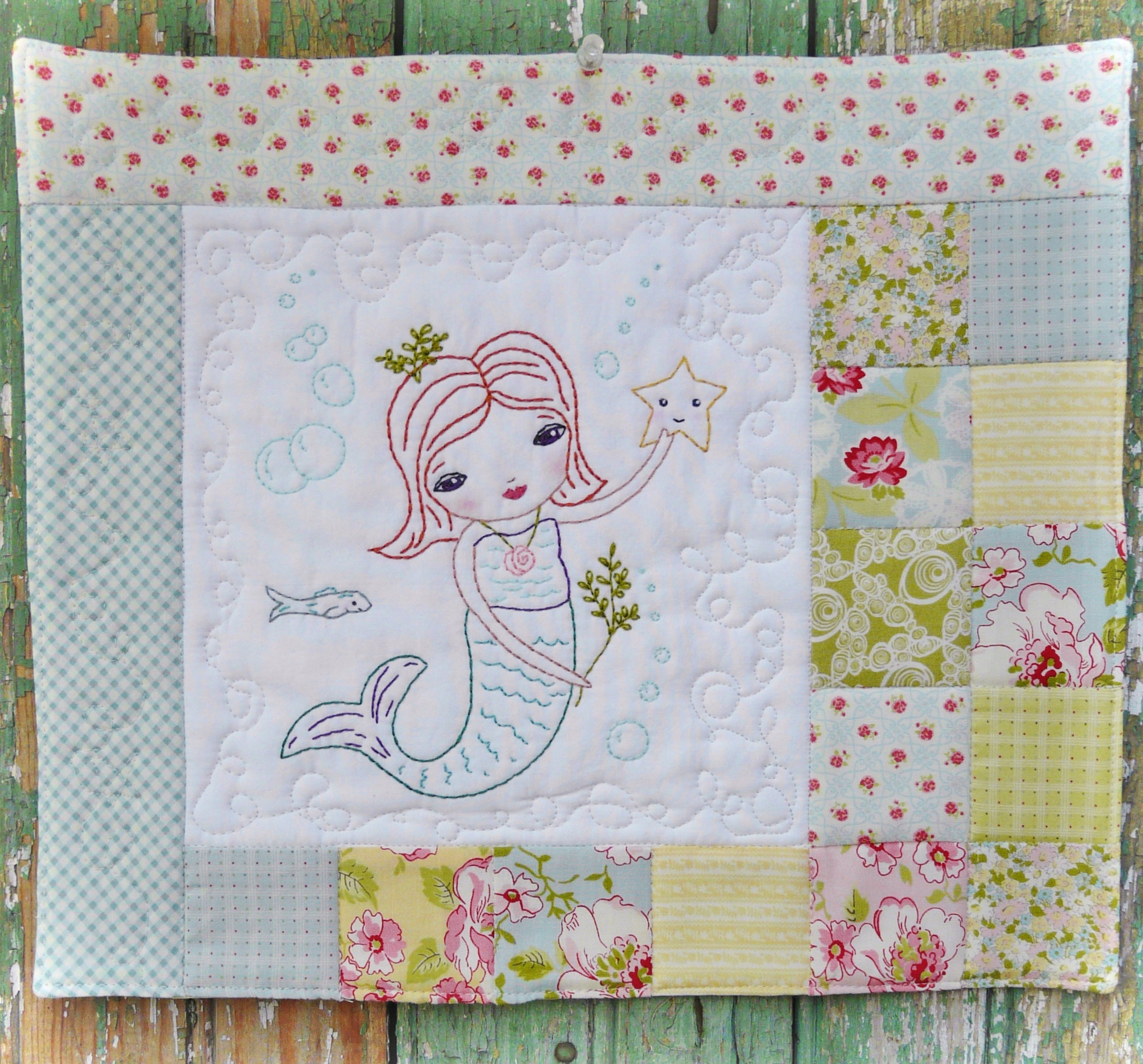 The merry mermaid embroidery mini quilt pattern
